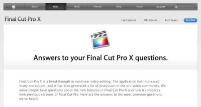 Apple publica una sección de preguntas frecuentes sobre Final Cut Pro X