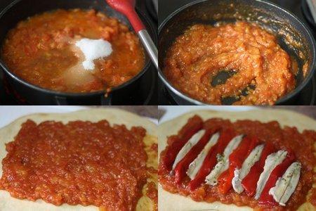 Receta de coca de pimientos rojos, boquerones y compota de tomate. Pasos