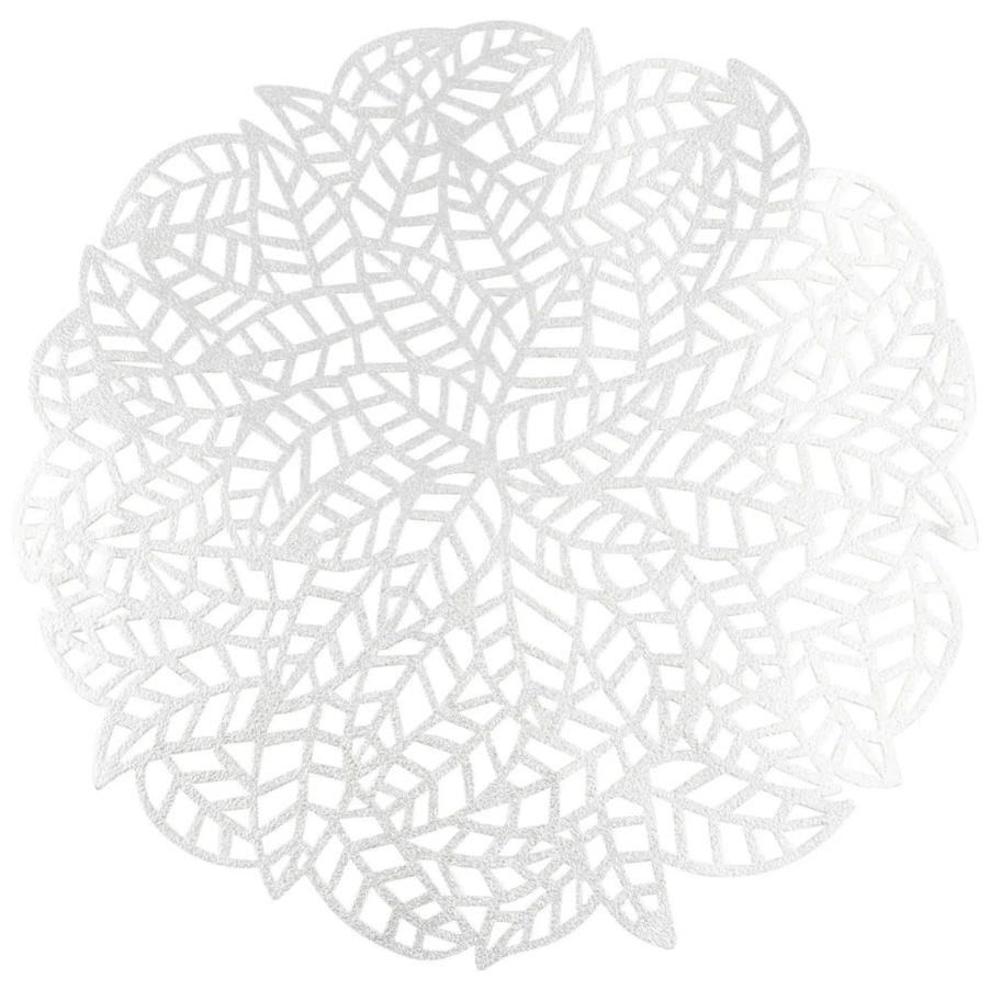Mantel individual redondo plateado Flore - Lote de 2
