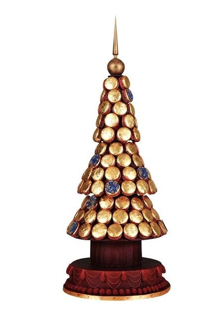Ladurée prepara árboles de navidad hechos de macarons