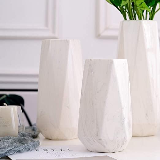 HCHLQLZ 20cm Mármol Blanco Decorativos Modernos Ceramica Jarrones de Flores para Mesa de Comedor Sala de Estar Idea Regalo para Cumpleaños Boda