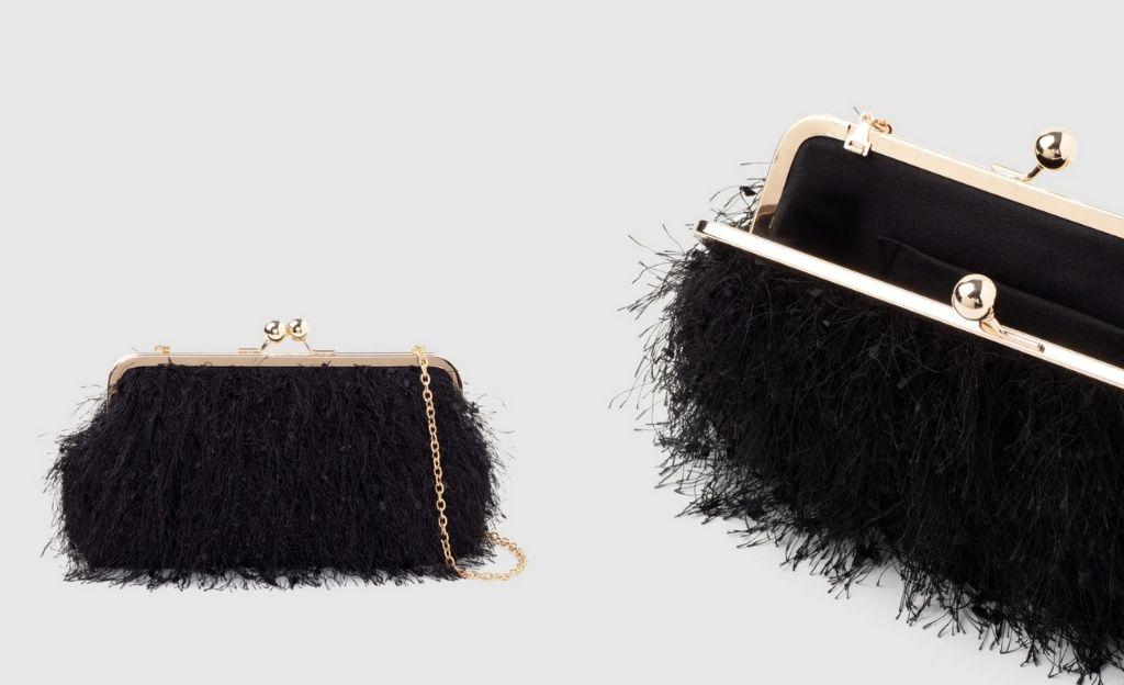 Clutch de fiesta El Corte Inglés en negro con efecto plumas