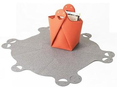 Divertido cesto-alfombra para la habitación infantil