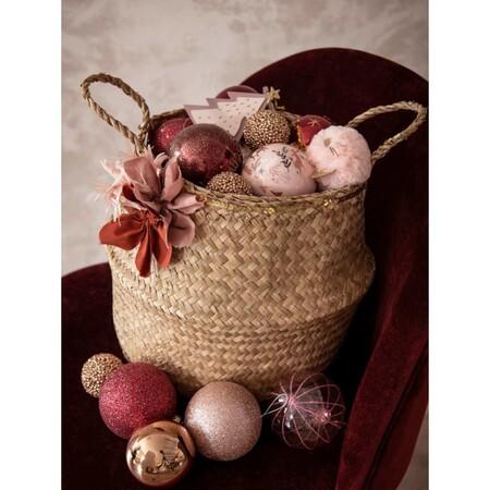 Bola De Navidad Rosa Con Purpurina