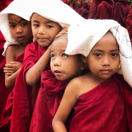 Novice Monks In Bagan Myanmar By Penni James