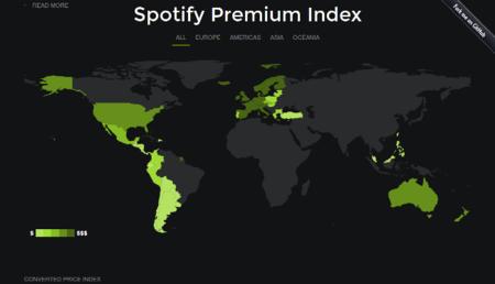 Los distintos precios de Spotify Premium en el mundo. La imagen de la semana