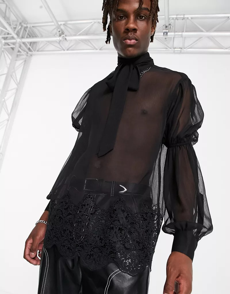 Camisa transparente de corte estándar con mangas abullonadas y detalles de encaje de ASOS DESIGN
