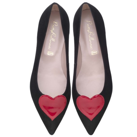 Ella Red Heart Black Suede Pair