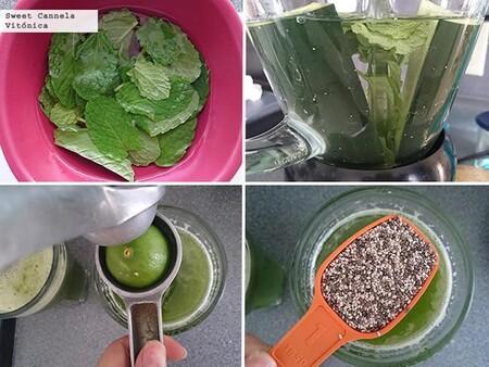 Agua de pepino con chía y menta. Receta fácil y saludable