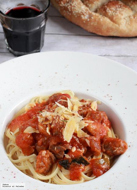 Tallarines con carcamusas toledanas, receta de pasta