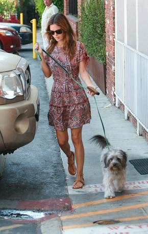 El look diez de Rachel Bilson: vestido de estampado tipo Paisley