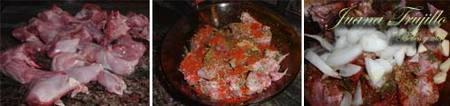 Preparación de conejo en adobo al horno