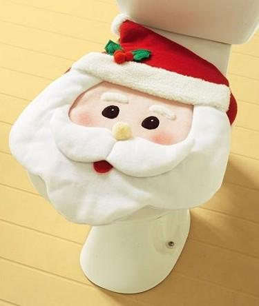 Tapa del inodoro con la cara de Papá Noel