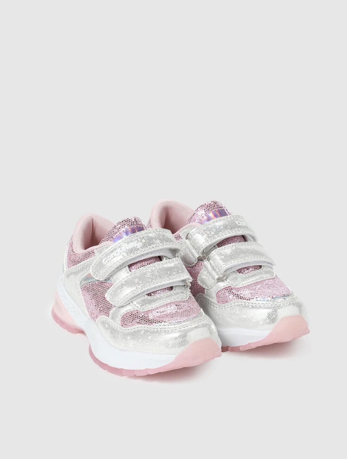 Zapatillas de luces de niña Conguitos en color rosa con doble cierre adherente
