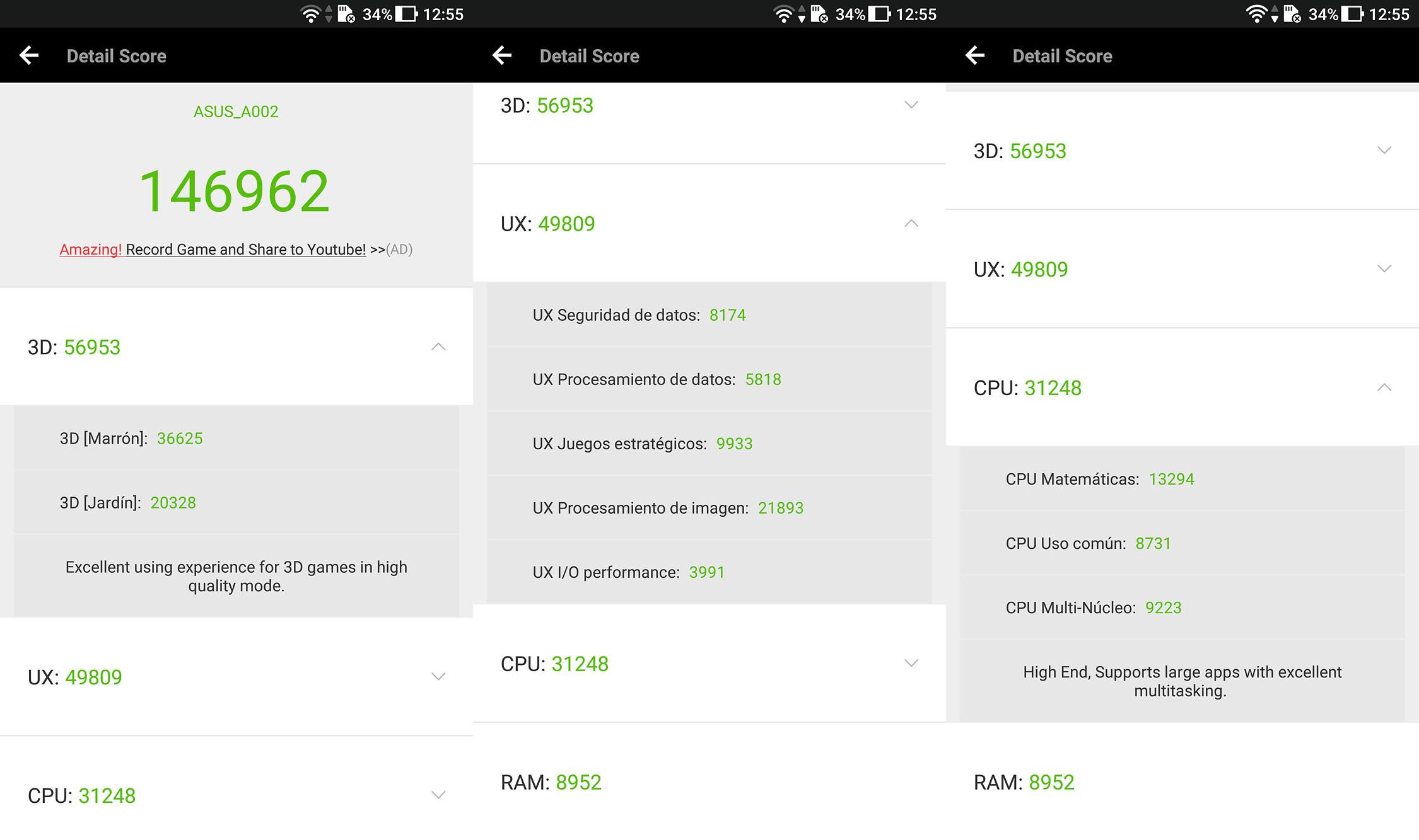 ASUS ZenFone AR, benchmarks