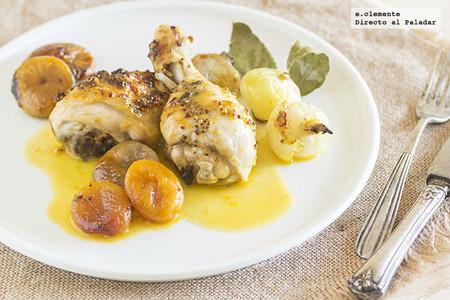 Pollo asado con salsa de mandarinas y frutas secas. Receta