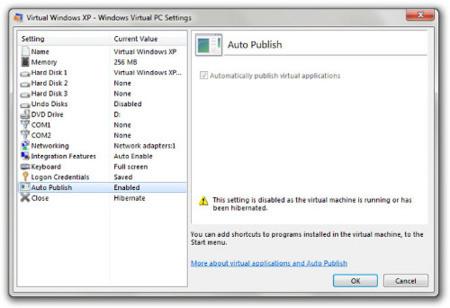 Opciones del Windows XP Mode