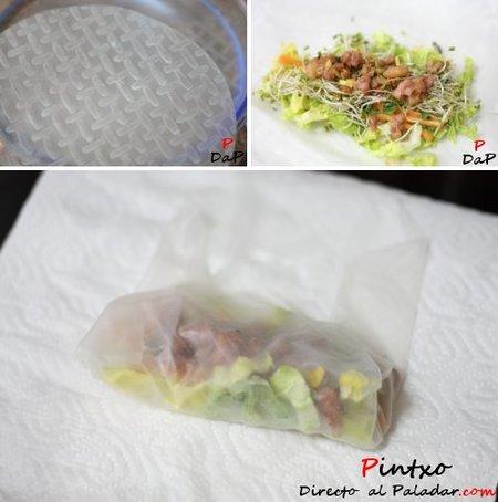Elaboración de Rolllitos de papel de arroz. Receta