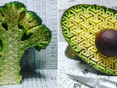 Fascinantes frutas y verduras talladas que son puro arte efímero comestible