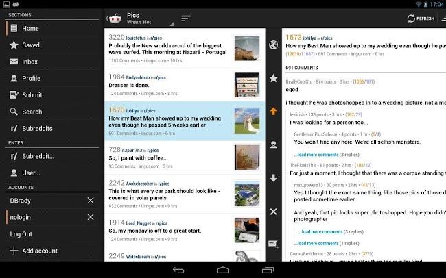 Reddit para tablets Android
