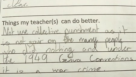 Los castigos colectivos en clase son 'crímenes de guerra': la brutal respuesta de una niña de 11 años a su profesora