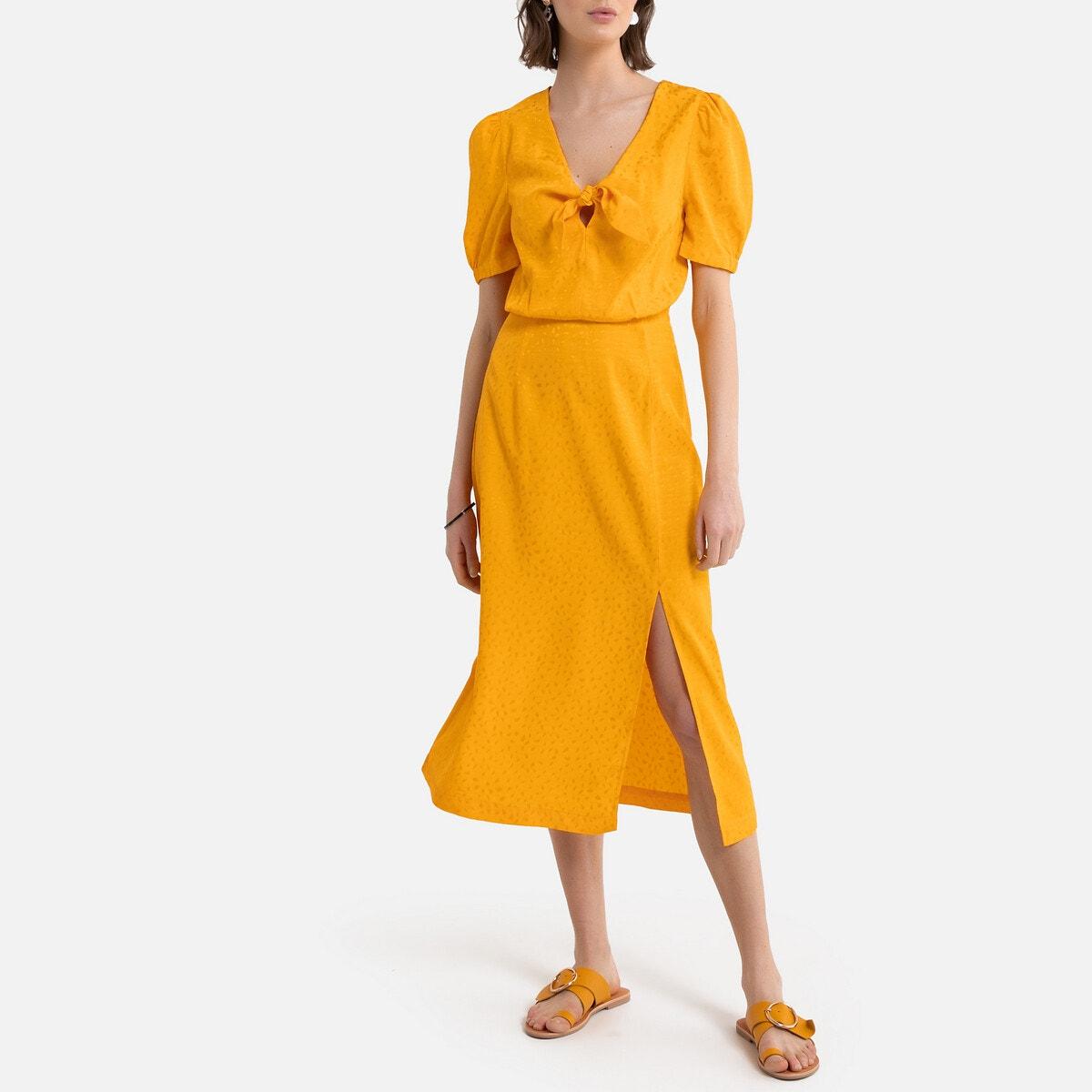 Vestido de tejido jacquard satinado