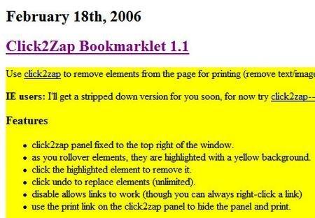 Click2Zap te permite imprimir sólo unas secciones de las webs