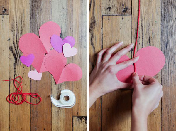Haciendo corazones de papel