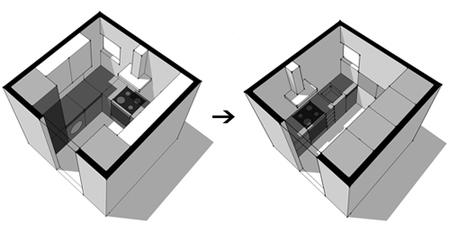Cocinas peque as c mo aprovechar el espacio al mil metro - Como distribuir una cocina pequena ...