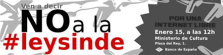 El sábado a las 12: Contra la ley Sinde en el Ministerio de Cultura