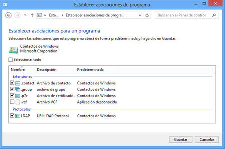 Establecer asociaciones de programa en Windows 8