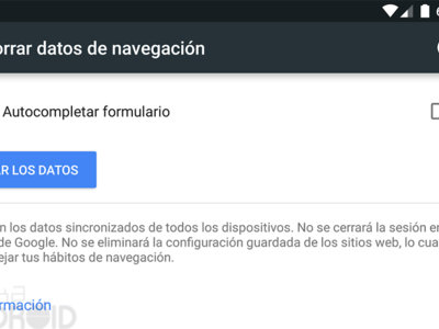 Cómo borrar los datos de navegación de Chrome para Android