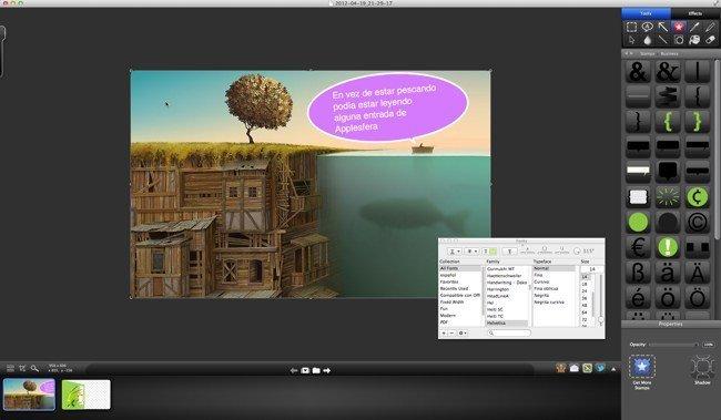 Interfaz de edición de imágenes en Snagit