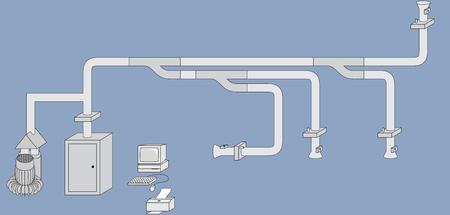 Esquema de un sistema de transporte neumático unidireccional. Imagen: Sicoin S.L.
