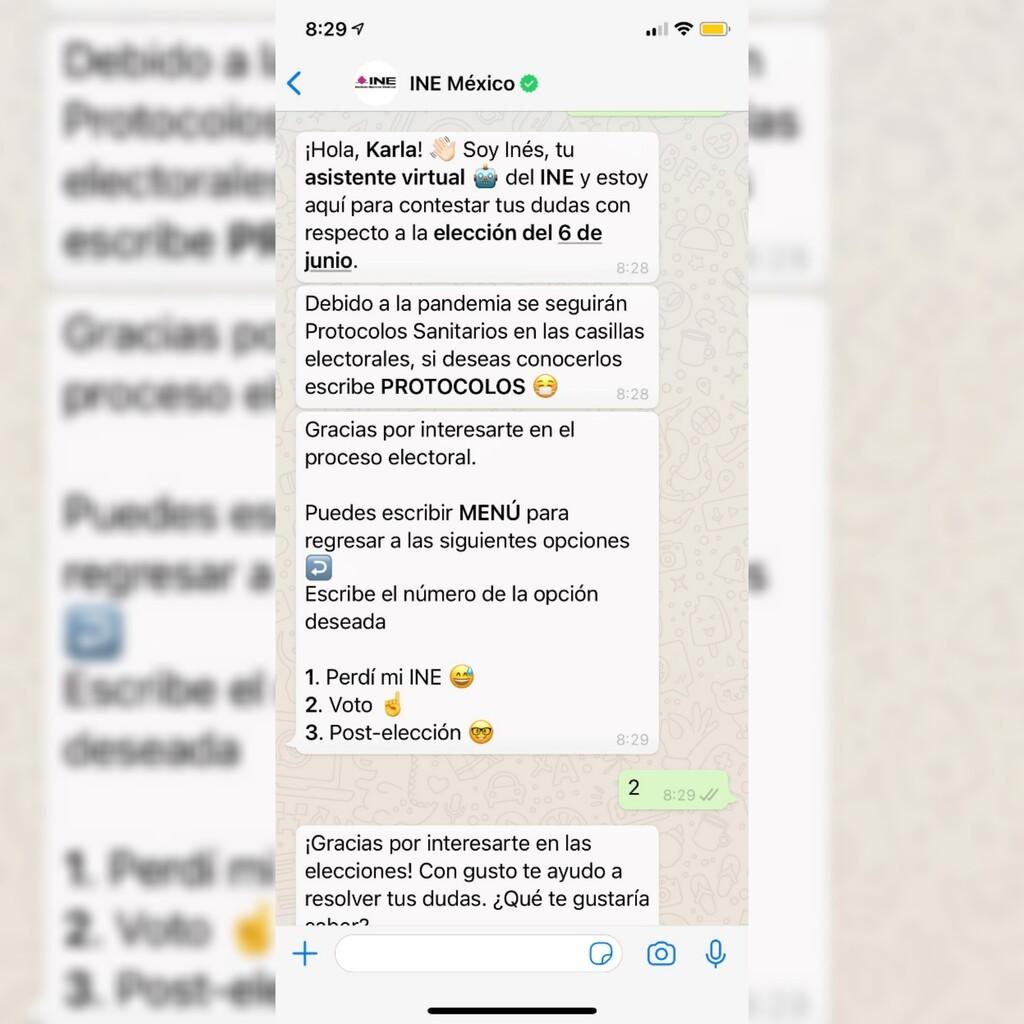 El INE tendrá bot en WhatsApp para la elección del 6 de junio en México: