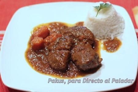 Carrilleras de cerdo ibérico en salsa de verduras. Receta