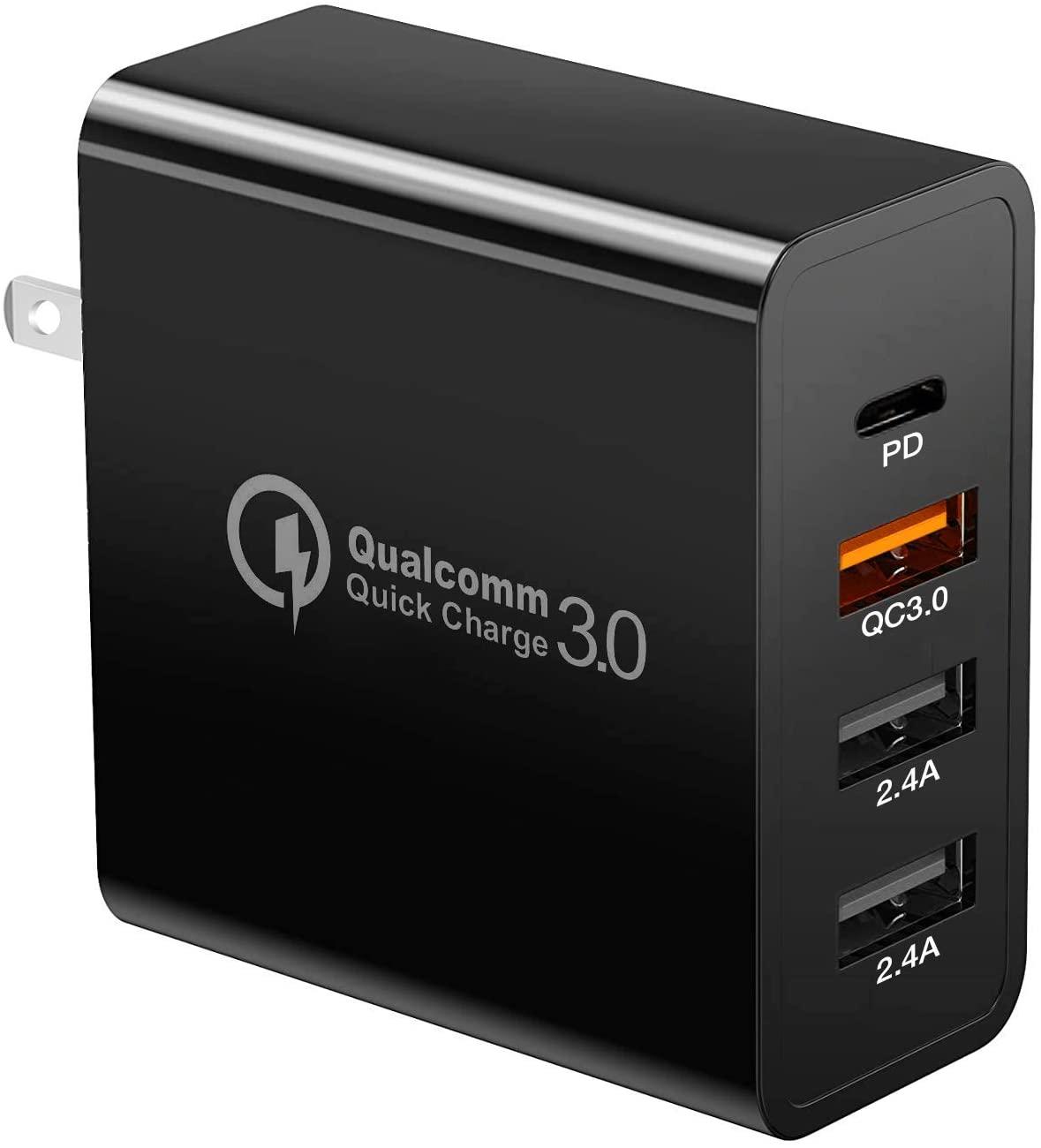Cargador USB de 48W con un USB tipo C, dos USB tipo A 2.4 y un Quick Charge 3.0