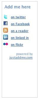 Justaddme, widget con enlaces a nuestros perfiles en las redes sociales donde participemos