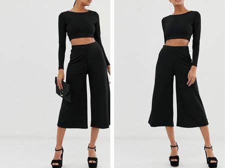 Pantalones De Pernera Ancha Capri En Negro De Crepe De Punto De Asos Design