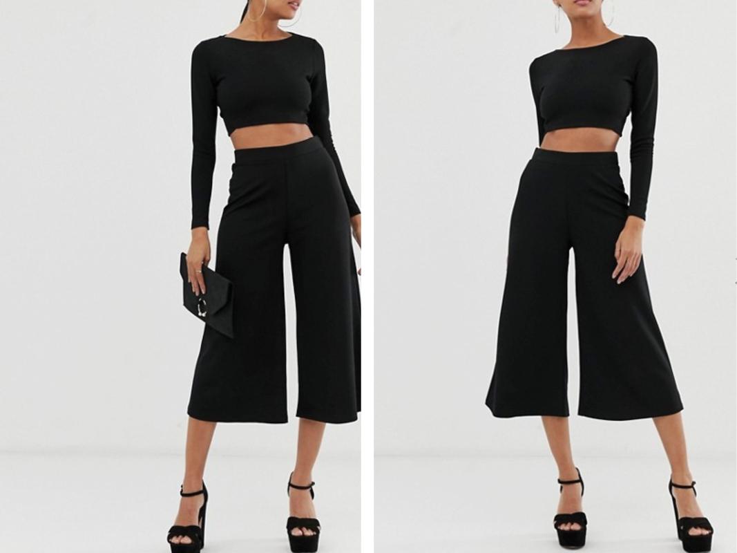Pantalones de pernera ancha capri en negro de crepé de punto de ASOS DESIGN