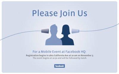 Facebook cita a los medios el 3 de noviembre, ¿teléfono propio a la vista?