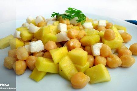 Garbanzos, mango y coco. Receta