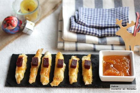 Cigarritos crujientes de queso y membrillo