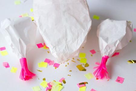pollo relleno de confeti