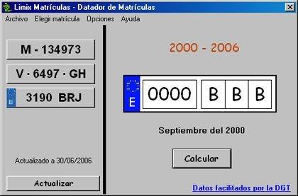 Limix Matrículas, para adivinar la fecha de matriculación