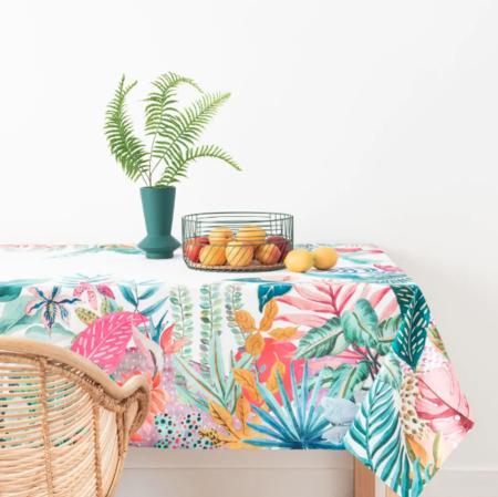 Mantel De Algodon Ecologico Con Estampado Multicolor 150 X 250 Kwathema