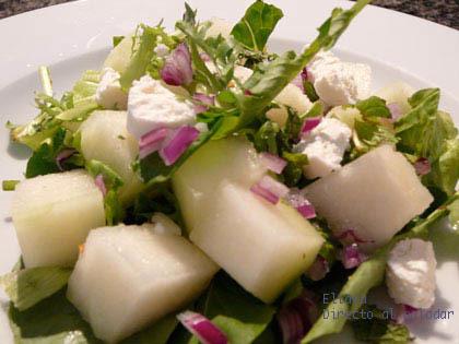 Ensalada de melón blanco y hierbabuena