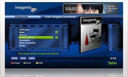 Imagenio Videoclub permitirá alquilar películas y series
