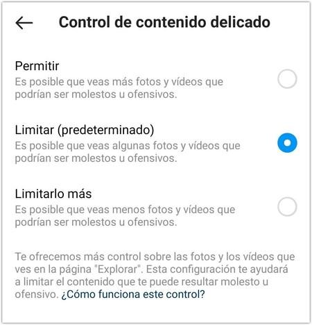 La configuración del 'control de contenido delicado' de Instagram