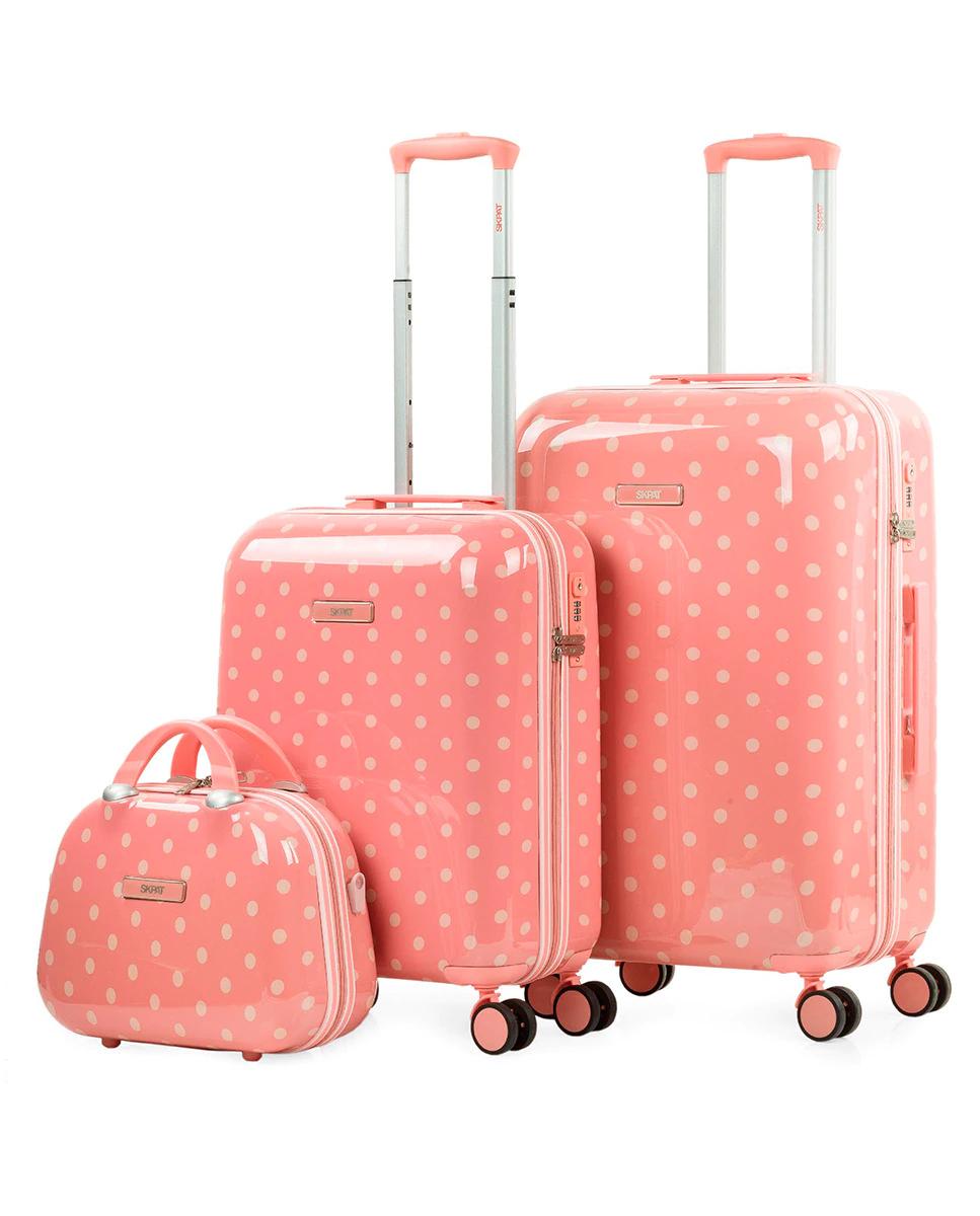 Juego de maletas (Cabina, Mediana y Neceser) rígidas Polka Dots con capacidad de 99,5 L